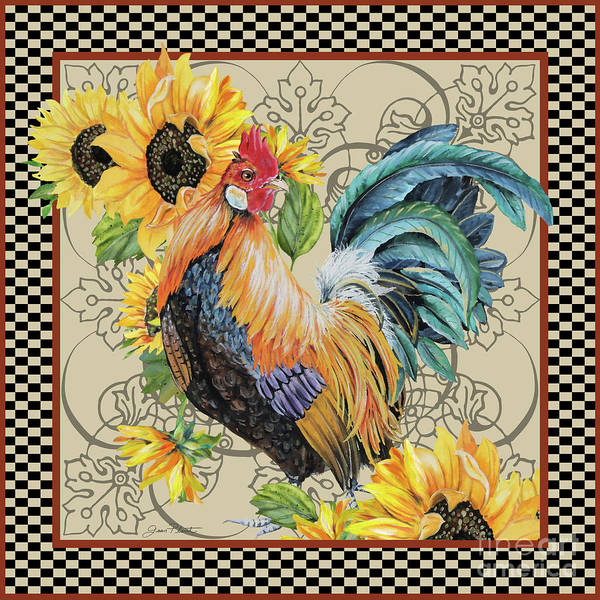 Wall Art - Painting - Country Time Rooster-a by Jean Plout