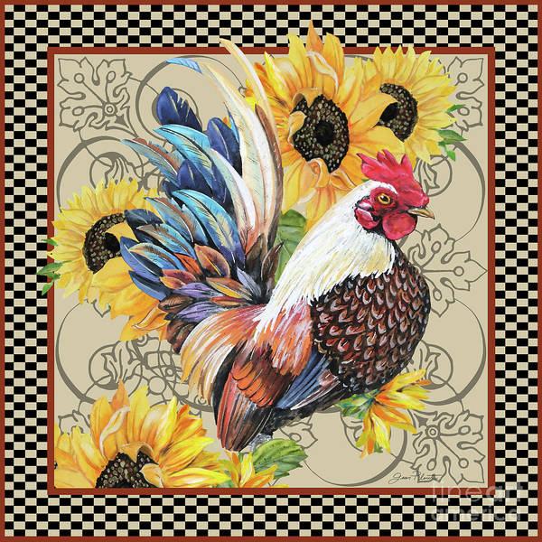 Wall Art - Painting - Country Time Rooster-b by Jean Plout