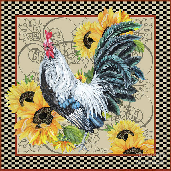 Wall Art - Painting - Country Time Rooster-c by Jean Plout