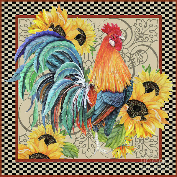Wall Art - Painting - Country Time Rooster-d by Jean Plout