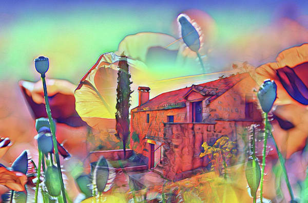 Country Villa Nestled In A Field Of Poppies Art Print
