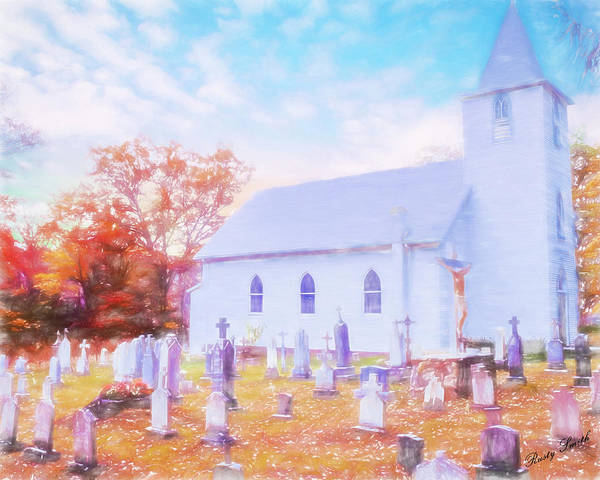 Country White Church And Old Cemetery. Art Print