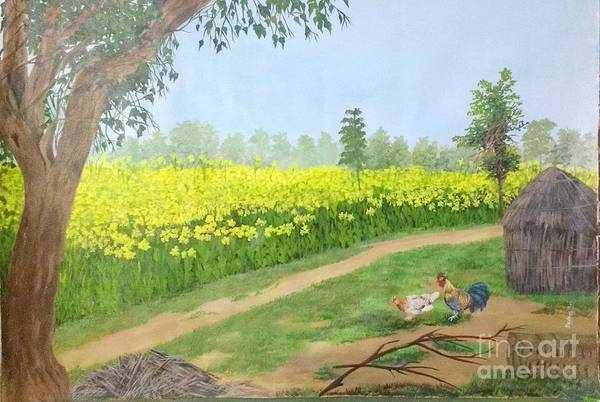 Mustard Field Painting - Countryside 1 by Sudha Srivastava