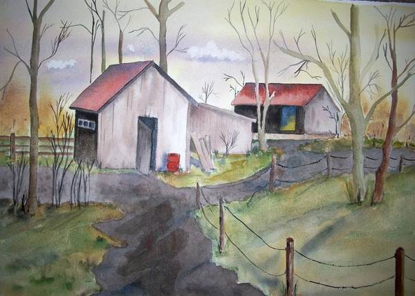 Painting - Countryside Dwellings by Audrey Bunchkowski