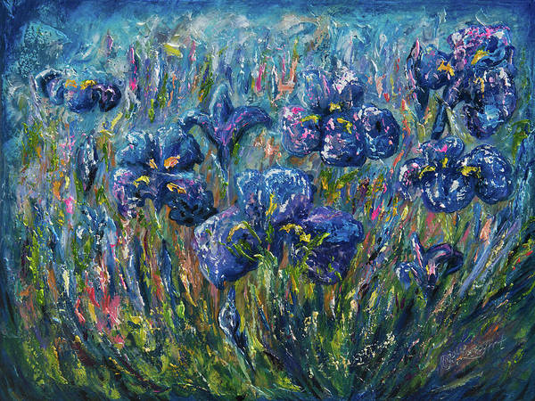 Painting - Countryside Irises Oil Painting With Palette Knife by OLena Art Brand