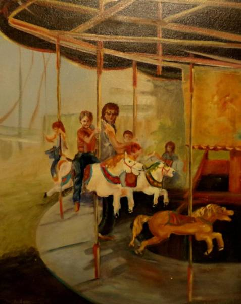 My Son Painting - County Fair by Barbara Runyon Fregia