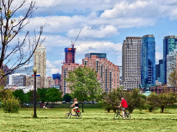 Photograph - Couple Cycling In Liberty State Park by Susan Savad