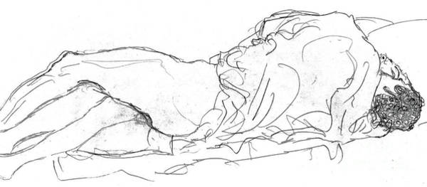Male Figure Drawing - Couple In Bed by Gustav Klimt