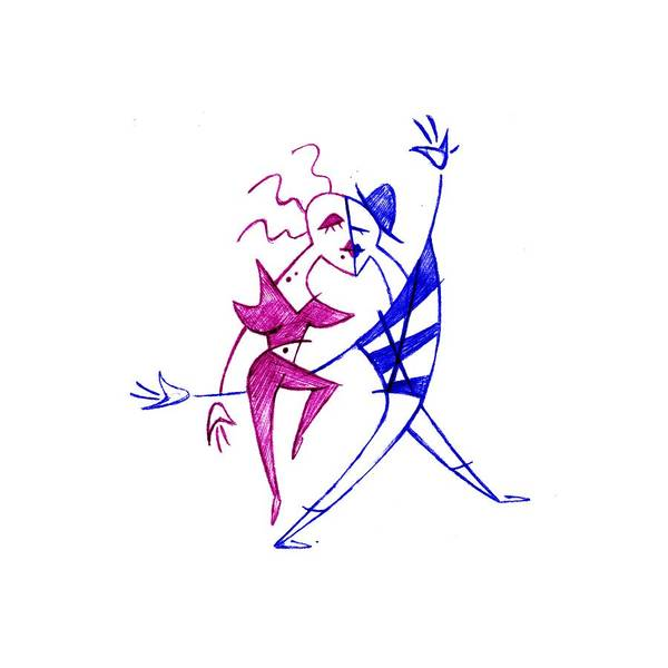 Tango Drawing - Couple In Love Dancing - Funny Illustration by Arte Venezia