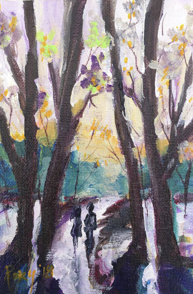 Landscape Painting - Couple In The Woods by Roxy Rich