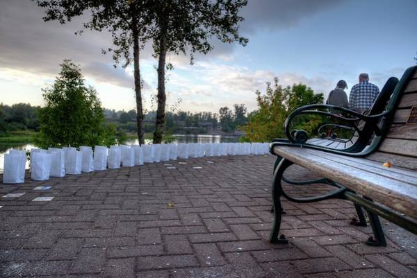 Photograph - Couple Leaving Bench by Jerry Sodorff