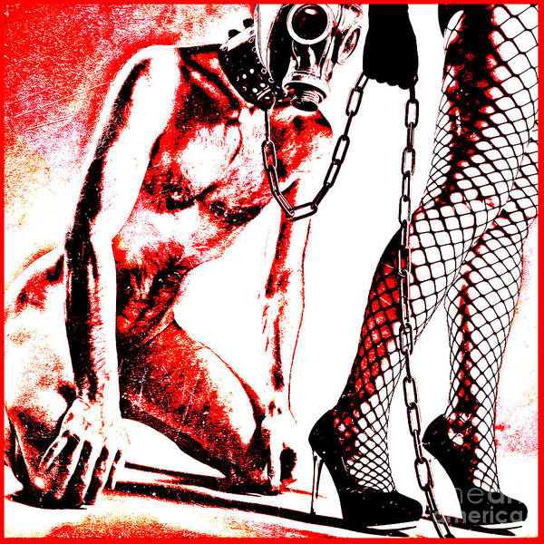 Couple Nude In Bdsm Play And Image Finished In Digital Dots Art  Art Print