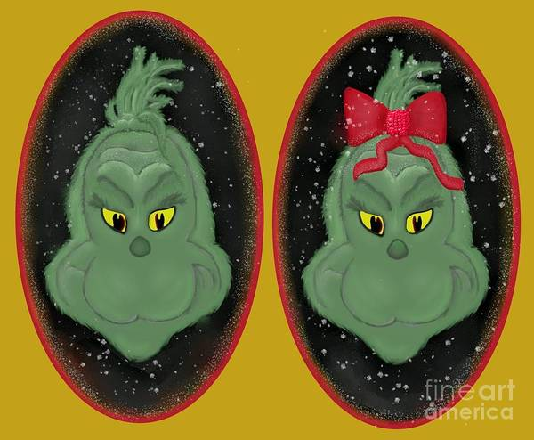 Cat In The Hat Wall Art - Digital Art - Couple Of Grinches by Priscilla Wolfe