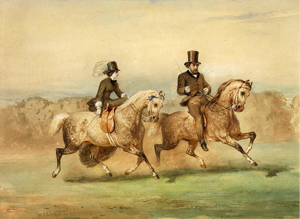 Dust Drawing - Couple Of Riders by Adolf Schreyer