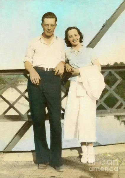 Photograph - Couple On A Bridge by Donna L Munro