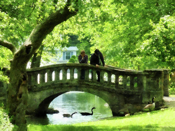 Photograph - Couple On Bridge In Park by Susan Savad