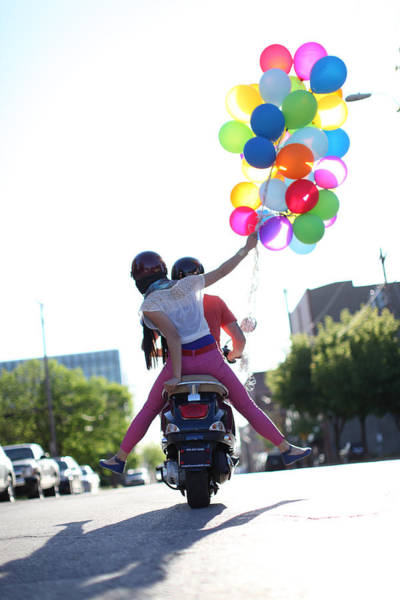 Summer Photograph - Couple On Motorcycle With Balloons by Gillham Studios