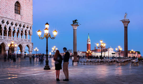 Photograph - Couple On The Piazzetta San Marco At Night - Venice by Barry O Carroll
