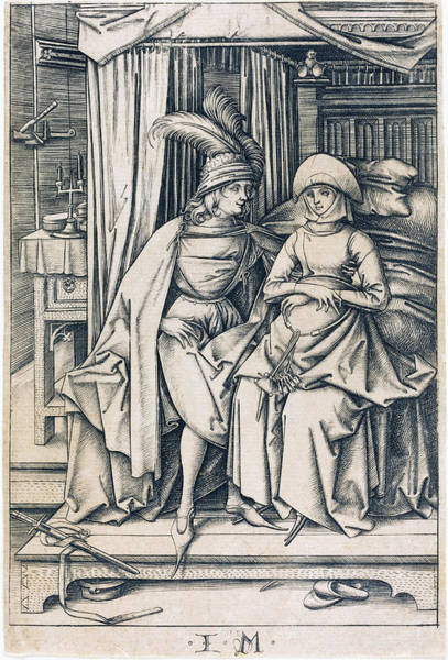 Drawing - Couple Seated On A Bed by Israhel van Meckenem