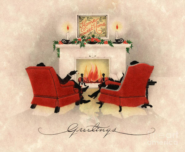 Yule Painting - Couple Sitting Before Roaring Fireplace On Christmas Eve by American School