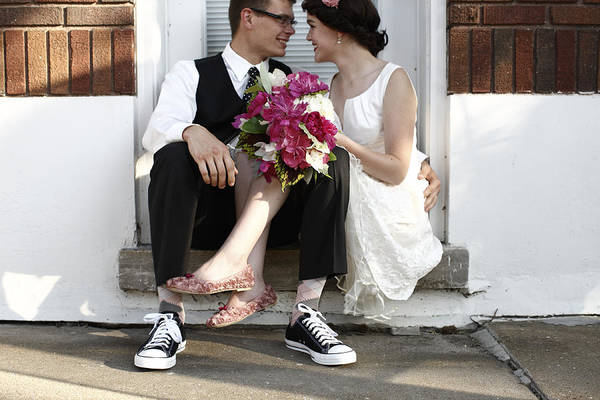 Wall Art - Photograph - Couple Sitting Closely After Wedding by Gillham Studios