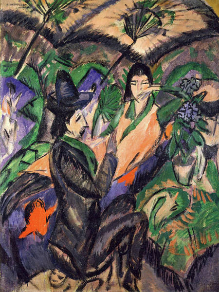 Painting - Couple Under Japanese Umbrella By Ernst Ludwig Kirchner 1913 by Ernst Ludwig Kirchner