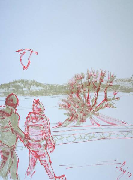 Drawing - Couple Walking Along Seafront At Exmouth Beach by Mike Jory