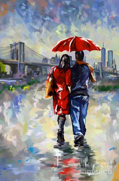 Walking In The Rain Wall Art - Painting - couple walking in the rain New York Brooklyn bridge by Tim Gilliland