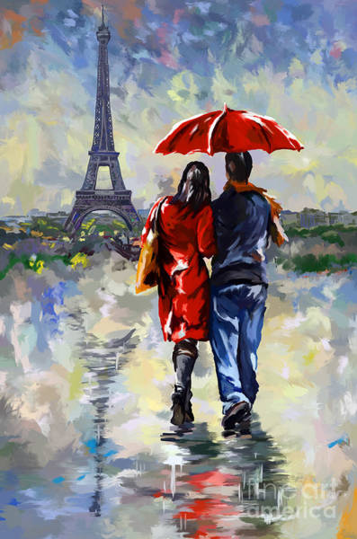 Walking In The Rain Wall Art - Painting - couple walking in the rain Paris by Tim Gilliland