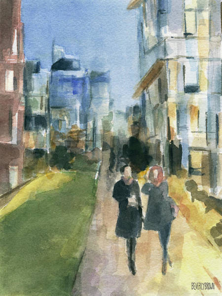 Urban Scene Painting - Couple Walking On The New York High Line by Beverly Brown