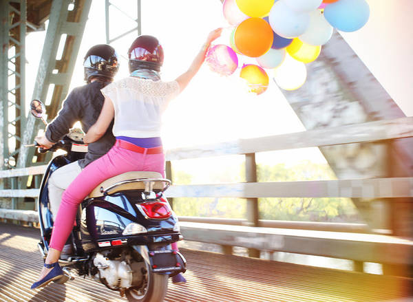 Wall Art - Photograph - Couple With Balloons Riding Motorcycle by Gillham Studios