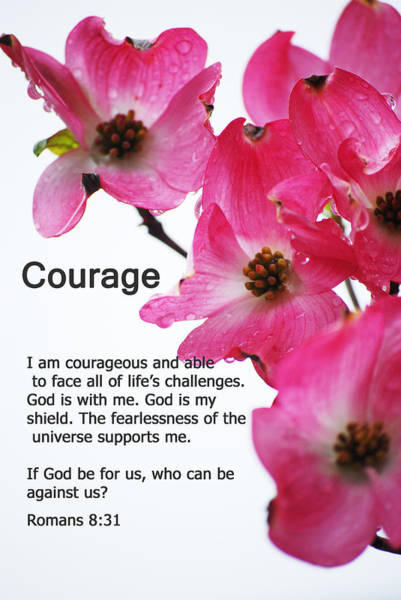 Bible Quotes Photograph - Courage - Bible Quote Series by Michelle  BarlondSmith