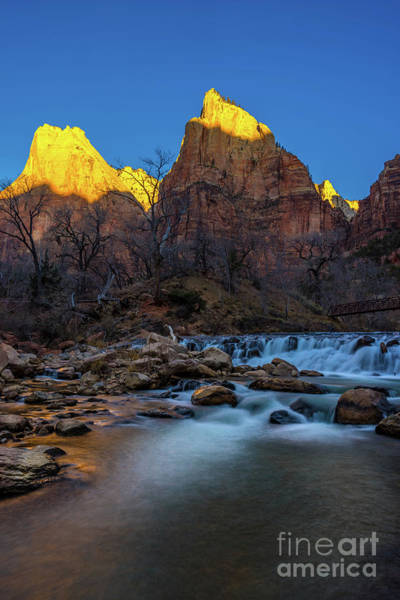 Wall Art - Photograph - Court Of The Patriarchs Sunrise Stream Flow by Mike Reid