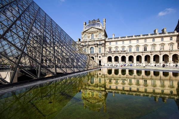 Photograph - Court Yard View Of The Pyramid At The Louvre Museum Paris by Pierre Leclerc Photography