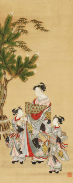 Wall Art - Painting - Courtesan And Two Attendants On New Year's Day by Isoda Koryusai