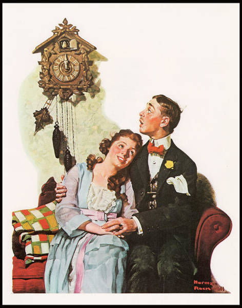 Painting - Courting Couple At Midnight Border by Norman Rockwell
