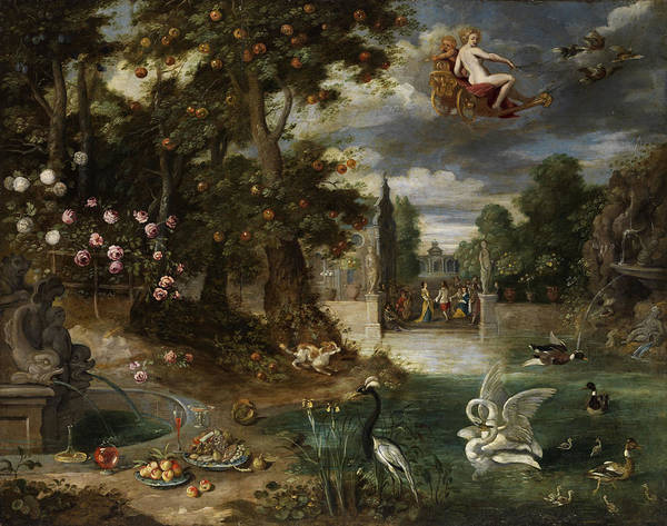 Painting - Courtly Celebration In A Lustgarten by Jan Brueghel the Younger