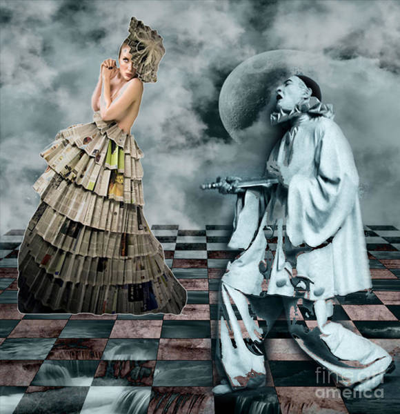Paper Dress Mixed Media - Courtly Jesters by Tammera Malicki-Wong