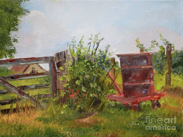 Painting - Courtney's Gate - Chateau Meichtry Vineyard - Red Barrel by Jan Dappen