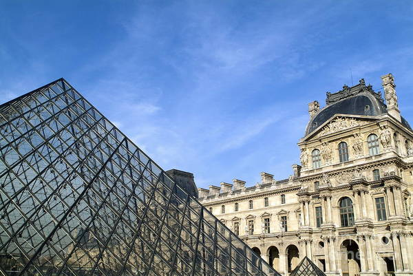 Wall Art - Photograph - Courtyard And The Louvre Pyramid by Sami Sarkis