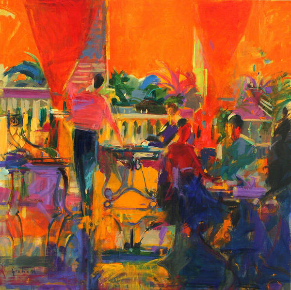Drapes Painting - Courtyard Cafe   Tunis by Peter Graham