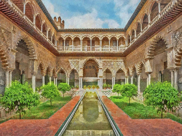 Digital Art - Courtyard Of The Maidens At The Alcazar Of Seville  by Digital Photographic Arts