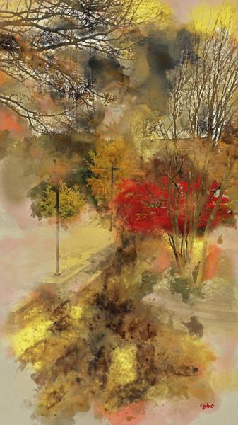 Digital Art - Courtyard Red Maple Tree by Paulette B Wright