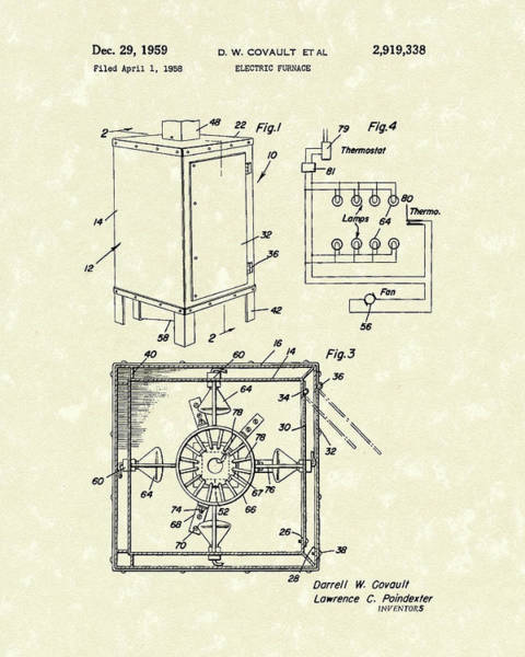 Drawing - Covault Electric Furnace 1959 Patent Art by Prior Art Design
