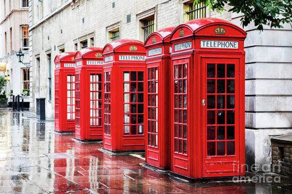 English Garden Photograph - Covent Garden Phone Boxes by Jane Rix