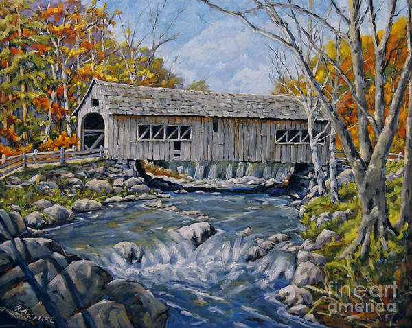 Wall Art - Painting - Cover Bridge 03 by Richard T Pranke