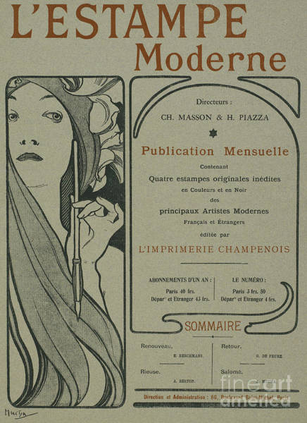 Wall Art - Drawing - Cover Page From Lestampe Moderne by Alphonse Marie Mucha