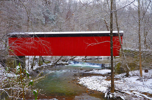 Red Covered Bridge Photograph - Covered Bridge Along The Wissahickon Creek by Bill Cannon