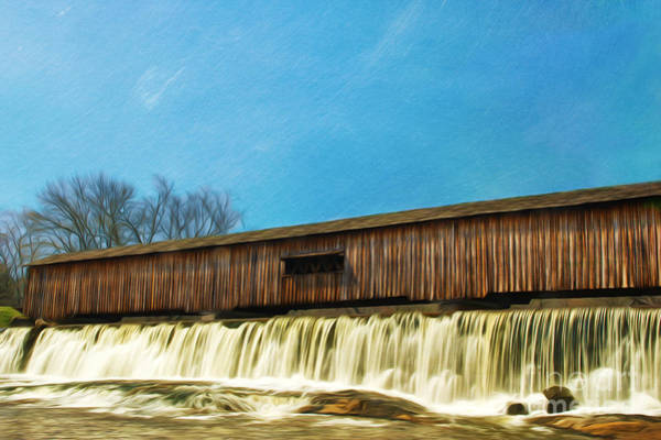 Watson Photograph - Covered Bridge And Waterfalls by Laura D Young