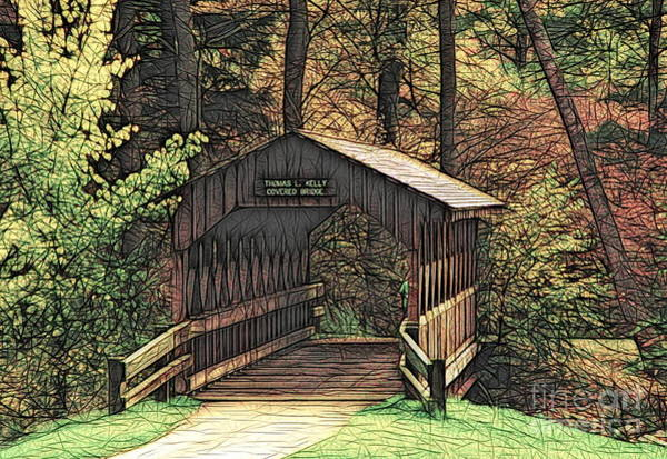 Photograph - Covered Bridge At Allegany State Park Colored Ink Effect by Rose Santuci-Sofranko